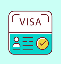 Start up visa blue color icon temporary residence vector