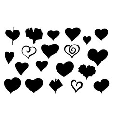 stylized sketch hearts silhouette set vector image