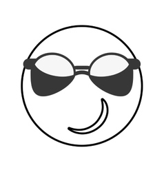 sunglasses cool emoticon icon vector image