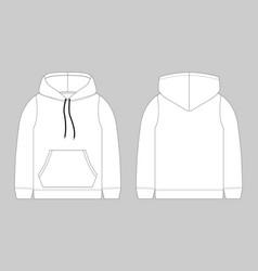 Technical sketch for men hoodie mockup template vector