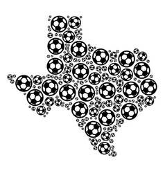 texas map composition of soccer spheres vector image