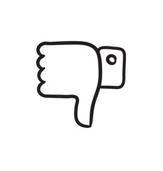 Thumbs down sketch icon vector