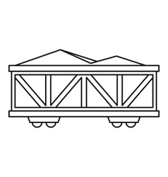 Train cargo wagon icon outline style vector image