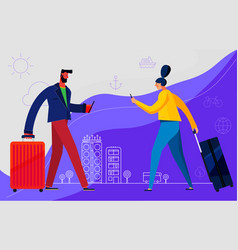Traveling concept banner trendy character design vector