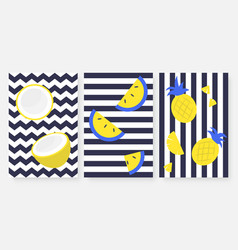 tropical fruits on striped black and white set vector image