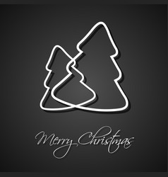 two white christmas trees on black background vector image