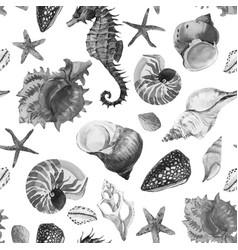 Watercolor sea life pattern vector