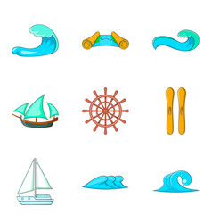Wave icons set cartoon style vector