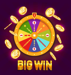 wheel of fortune or spinning wheel for casino vector image