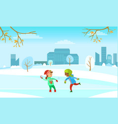 winter holidays fun kids playing snowball fight vector image