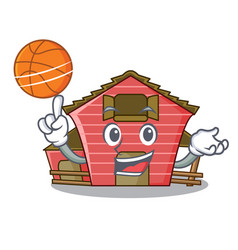 With basketball character red barn building with vector