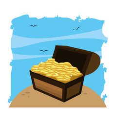 wooden chest box with gold coins in sea vector image