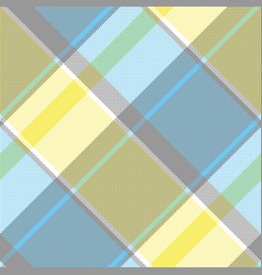 Yellow blue gray pixel plaid seamless pattern vector