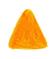 Yellow crayon scribble texture stain triangle vector