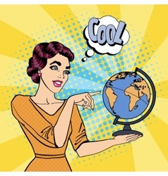 Young Woman with Globe Pop Art vector image