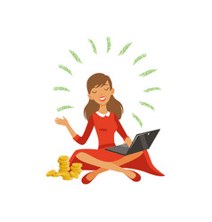 beautiful young successful rich woman character in vector image
