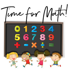 children counting numbers on board vector image vector image