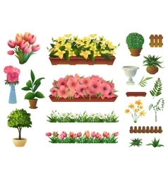 Plants and flowers set of elements vector image