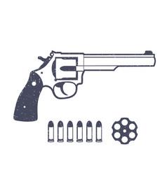 revolver handgun isolated over white vector image