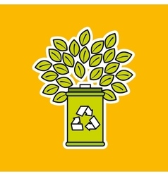 trash can recycle and tree icon design vector image