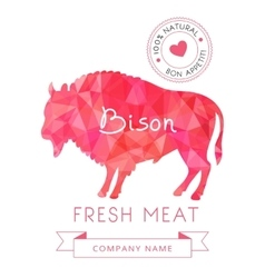 Image meat symbol bison silhouettes of animal for vector image
