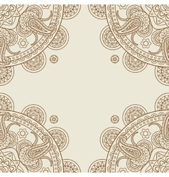 Indian paisley boho floral corners frame vector image