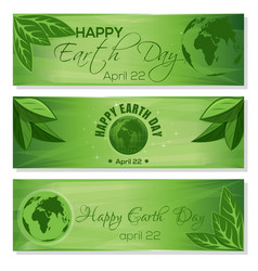 set green banners for earth day april 22 vector image vector image