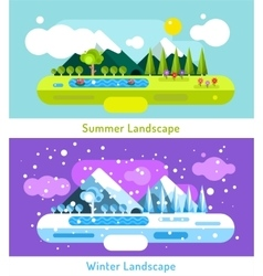 Abstract outdoor summer and winter landscape vector image