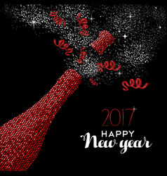 happy new year 2017 red party bottle vector image