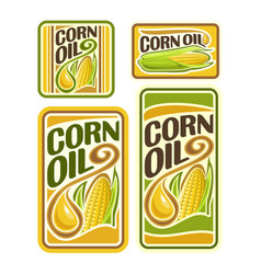 Set labels for cooking corn oil vector