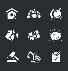 set of demolition icons vector image vector image