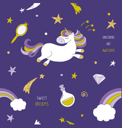 unicorn on the night sky seamless pattern with vector image vector image