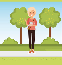 young woman student in the park vector image