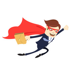 business man superman flying with case flat style vector image