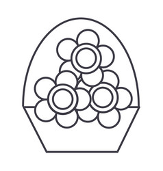 flowers vase line icon sign vector image vector image