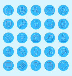 round blue web icons vector image