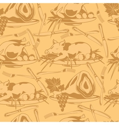 seamless pattern with different types of meat vector image