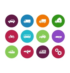 Transport circle icons on white background vector image