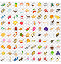 100 cupcakes icons set isometric 3d style vector