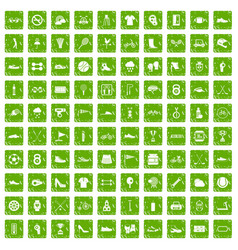 100 sneakers icons set grunge green vector image