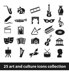 25 art and culture icon collection vector