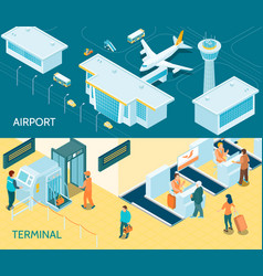 Airport isometric banners vector