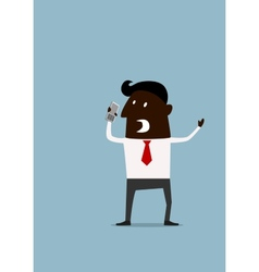 Angry frustrated afroamerican businessman vector
