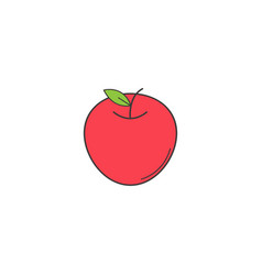 Apple solid line icon healthy fruit vector