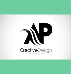 ar a r creative brush black letters design with vector image