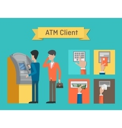 ATM and automated teller or cash machine clients vector