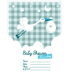 Baboy invitation with stork vector