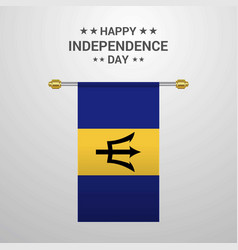 Barbados independence day hanging flag background vector