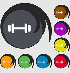 Barbell icon sign Symbols on eight colored buttons vector