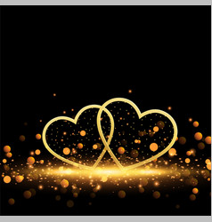 beautiful golden hearts on sparkles background vector image